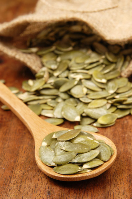 Brace yourselves - pumpkin seeds contain a long list of anti-ageing ingredients, including (deep breath) zinc, magnesium, iron, copper, vitamin A, B, K, manganese, protein, niacin, thiamine and omega 3 fatty acids, the combined power of which is pretty unbeatable when it comes to slowing down collagen breakdown. Take that, wrinkles!